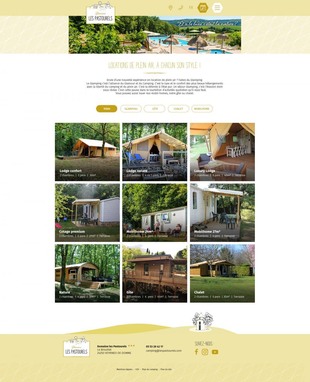 Camping Les Pastourels - Liste des locations